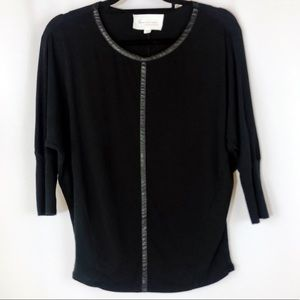 Two by Vince Camuto Dolman Sleeve Black Shirt